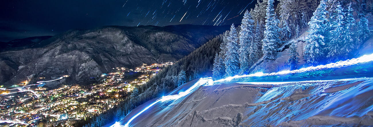 uphilling on aspen mountain at night