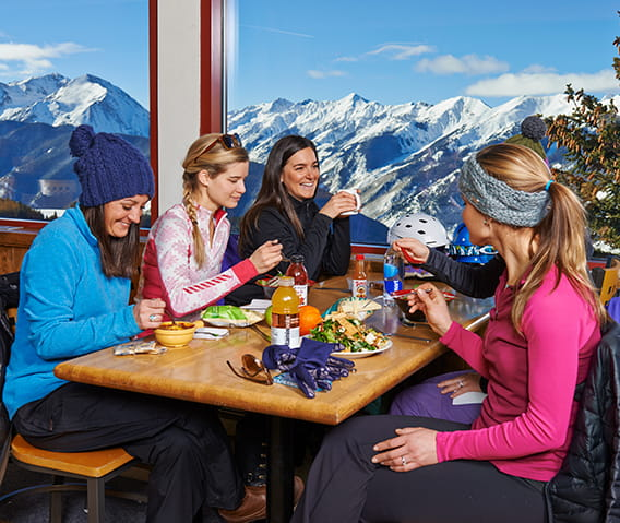 dining at the sundeck atop aspen mountain