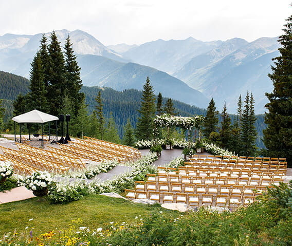 The Aspen Mountain Wedding Deck is The Little Nell's premier wedding venue, offering stunning mountain views for a private, serene wedding ceremony.