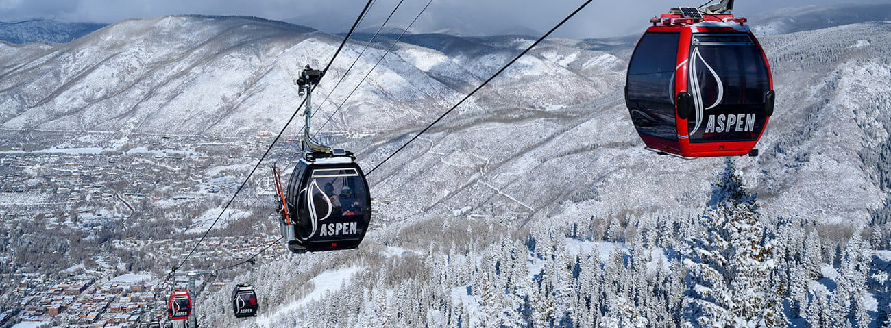 Aspen Mountain gondola in the wintertime.