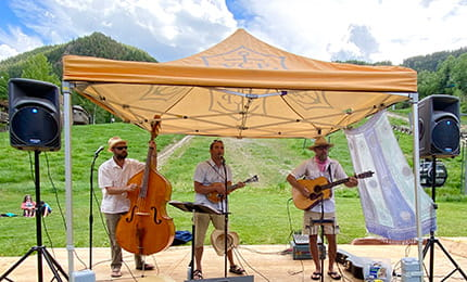 Ajax Tavern features live bluegrass music on the patio every weekend in the summer.