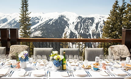 a private lunch set-up on the patio at the Aspen Mountain Club.