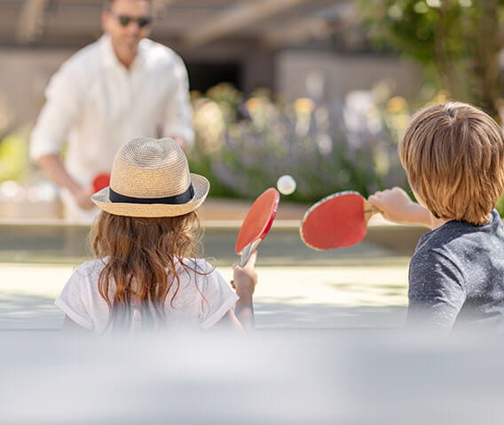 Click here to learn more about the rooftop garden deck at the Residences at The Little Nell, which offers activities for the whole family to enjoy such as a ping pong table.